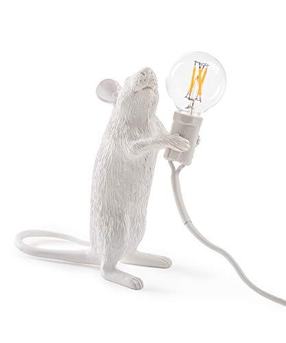 SELETTI Mouse Lamp de pie, resina, blanco, 15x 6x 16cm