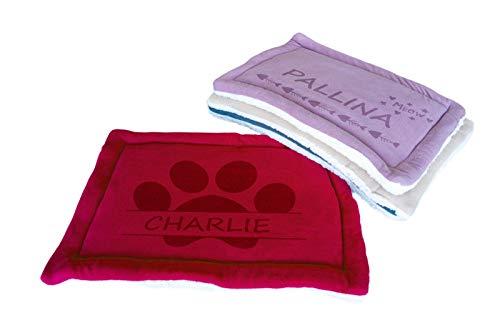 Cojín personalizado para cama de gato, con nombre de mascota, lavable, tamaño 60 x 40 cm (rojo)