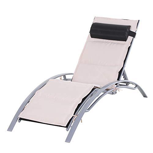 Outsunny Sedia a Sdraio da Giardino Poltrona Relax Reclinabile per Esterno in Alluminio 170 x 64 x 80 cm Nero