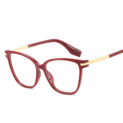 BXGZXYQ Gafas Falsas de la Moda de Las Mujeres, Gafas claras de la Lente, vidrios Transparentes del Marco de Cristal de los templos del Metal (Color : Vino Rojo)
