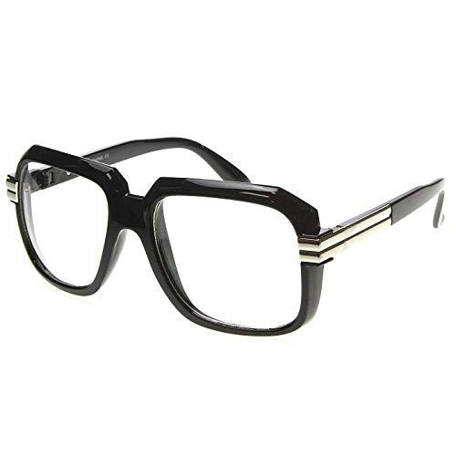 KISS Neutrale Brille OLD SCHOOL mod. RUN-DMC - optischer Rahmen VINTAGE Mann Frau HIP-HOP - SCHWARZ