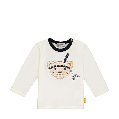 Steiff Baby-Jungen mit süßer Teddybärapplikation T-Shirt Langarm, Cloud Dancer, 080
