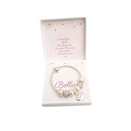 Girls Beaded Sparkly Bracelet Bridesmaid/Flower Girl Gift Present with...