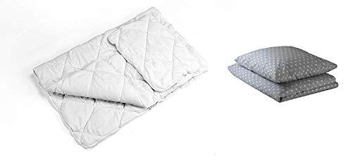 Kinderbettwäsche 135x200 Bettwäsche baby Babybett Set - 4-teilig bettdecke Kinderdecke und Kissen 70x80 mit babybettwäsche Reißverschluss Grau