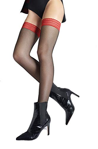Marilyn transparente halterlose Netz-Strümpfe, 80 Holes, mit 6 cm Spitze, Größe 36/38 (S/M), Farbe Schwarz (black & red)