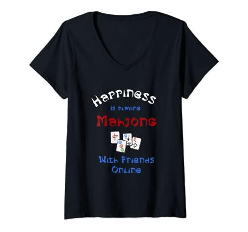 Mujer La felicidad está jugando Mahjong con amigos en línea juego de azulejos Camiseta Cuello V