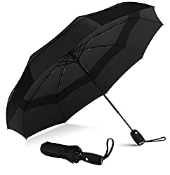 Image: Repel Windproof Double Vented Travel Umbrella with Teflon Coating (Black)