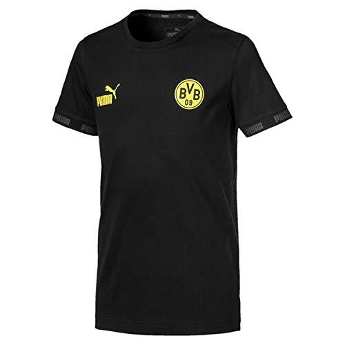 PUMA BVB Ftblculture tee Jr Camiseta, Unisex niños, Black, 128