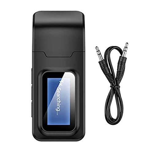 Receptor de transmisor Bluetooth 5.0 4 en 1 Audio inalámbrico 3.5mm Adaptador AUX USB para automóviles Home Sistema Estéreo Black Archivos electrónicos