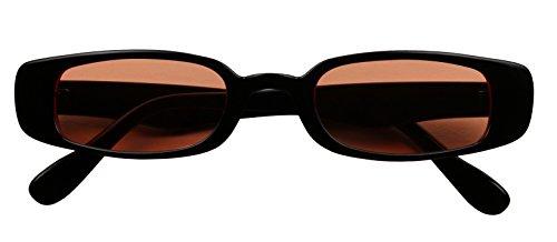 ShadyVEU Retro Colorful Tint Lens Oval Sunglasses Rectangular Small Slim 90's Vintage Clout Shades (Black Frame, Orange Lens)