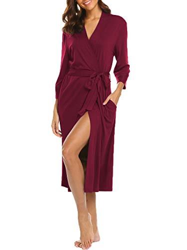 Damen Morgenmantel Baumwolle Nachtwäsche Nachthemd Kimono Lange Robe Bademantel Für Frauen Saunamantel V Ausschnitt mit Gürtel und Tasche (Burgund M)