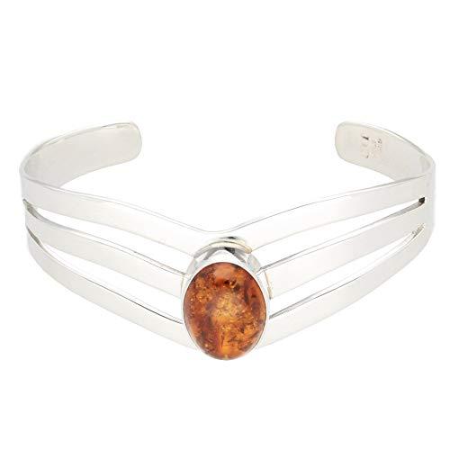 Jollys Jewellers Women's Sterling Silver 7' Amber Torque Bangle (12x17mm Head)