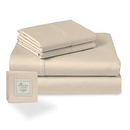 Pizuna 400 Thread Count Cotton Queen Size Sheets Set Beige, 100% Long Staple Cotton Sheets Set, Soft Sateen Best Cotton Bed Sheets Deep Pocket fit Upto 15 inch (100% Cotton Taupe Queen Sheet Set)