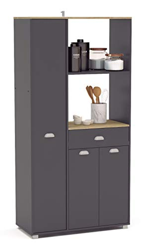 SZ Suarez Buffet Asfeld Color Gris Grafito 3puertas 1 cajón Cocina Mueble Auxiliar Almacenamiento 180x90x40 cm