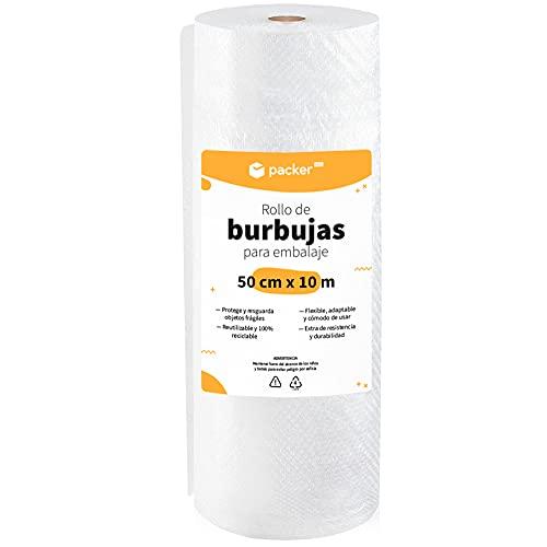 packer PRO Rollo Burbujas Embalaje de Plástico, 50cm Ancho y 10m longitud