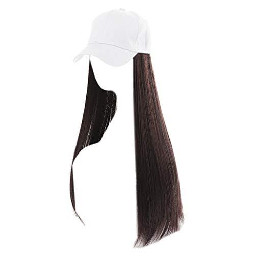 Gorra de béisbol Diaria, Sombrero de Peluca para Mujer con Extensiones de Cabello sintético Pelucas largas y Rectas