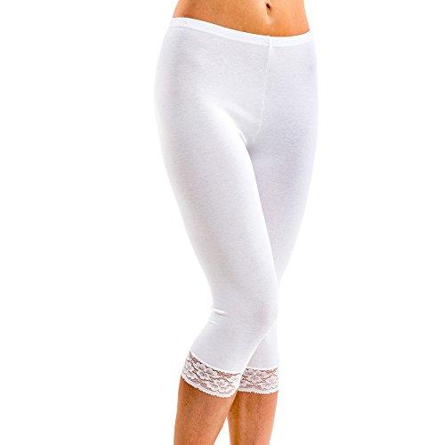 HERMKO 5722 Damen Capri-Leggings mit Spitze, Farbe:weiß, Größe:44/46 (L)