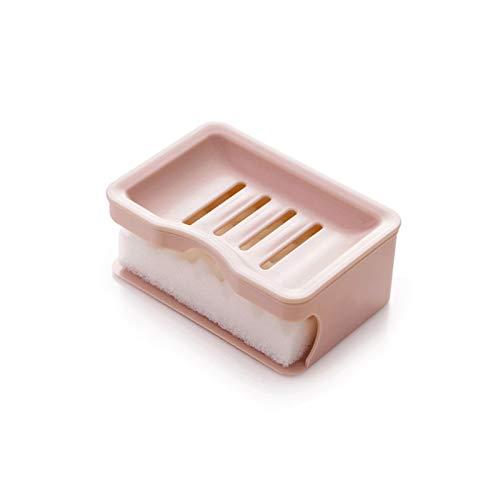 Caja jabón Plato de jabón creativo de doble capa en el baño, bandeja de jabón de plástico con esponja, contenedor de jabón con múltiples orificios de drenaje (rosa / blanco / caqui) Bandeja de jabón