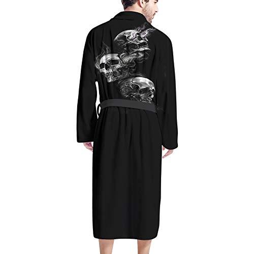UOIMAG Herren Bademantel mit Tasche Weicher Bademantel Morgenmantel Nachtwäsche Geschenk für Männer Gr. Einheitsgröße, Totenkopf schwarz