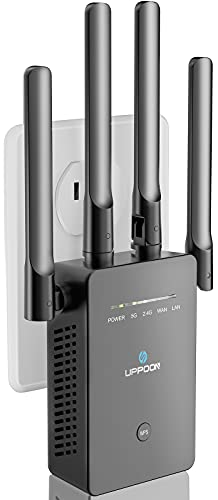 UPPOON WiFi Extender Signal Booster for Home, 1200Mbps Internet Booster Covers up to 5000sq.ft, 2.4 & 5GHz Dual Band Wireless Signal Amplifier Repeater, 1-Tap Setup, WAN/LAN Port, Alexa Compatible
