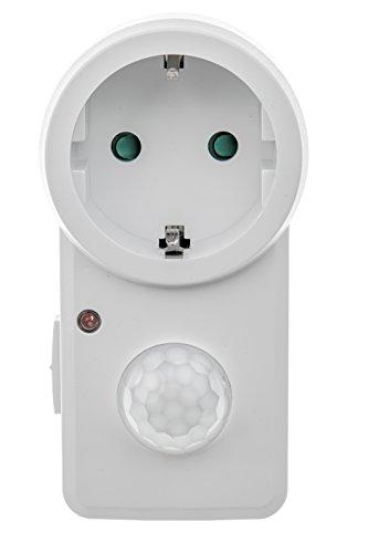 HUBER Sensor de movimiento Motion 20 con sensor de movimiento PIR de 140° para enchufe, 230 V/1200 W, sensor de movimiento LED, adecuado con alcance de hasta 8 m, sensor crepuscular