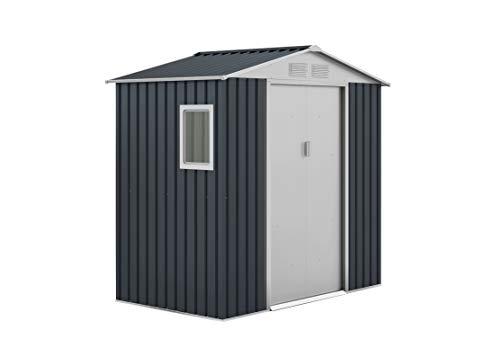 GARDIUN KIS12131 - Caseta Metálica Darwen 2,71 m² Exterior 127x213x205 cm Acero Galvanizado Gris Antracita