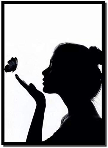 Pintura en lienzo, impresiones de estilo nórdico, cuadros modulares, silueta en blanco y negro, de chica, póster, arte de pared para dormitorio, decoración del hogar, 40X60cm sin marco