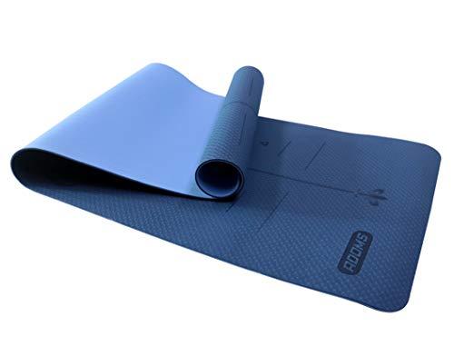 ADOMS - Esterilla yoga | Esterilla deporte antideslizante | Esterilla pilates | Colchoneta gimnasia | 183cm x 61cm x 0,6cm (Azul Oscuro + Azul Claro)