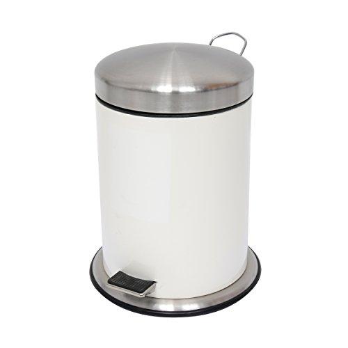 MSV Kosmetikeimer Mülleimer Treteimer Abfalleimer Edelstahl - 5 Liter – mit Herausnehmbaren Inneneimer - Weiß