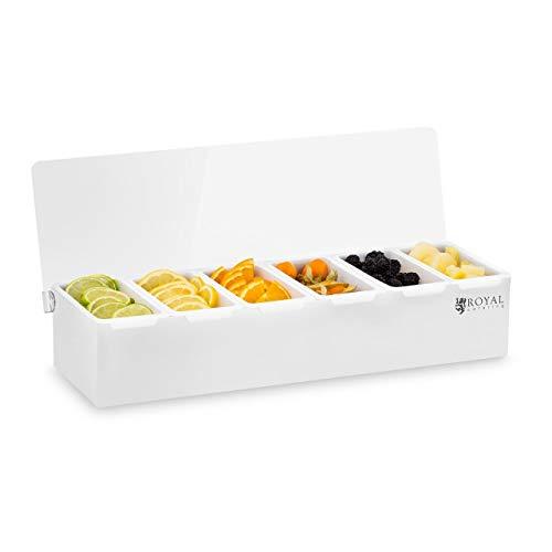 Royal Catering Caja Para Condimentos Condimento Dispensador RCCBP 6 (Acero inoxidable, 6 envases, Capacidad por envase: 450 ml, Cubierta de Polipropileno, 45,5 x 15 x 8,8 cm)