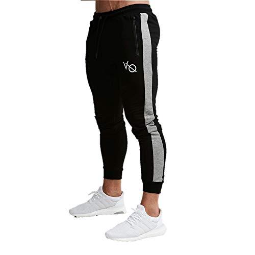 Aoiya メンズ ロングパンツ ジョガーパンツ トレーニングウェア スキニー スリム スポーツ ジム フィットネス ランニング スウェット ファスナー付き (XL, ブラック)