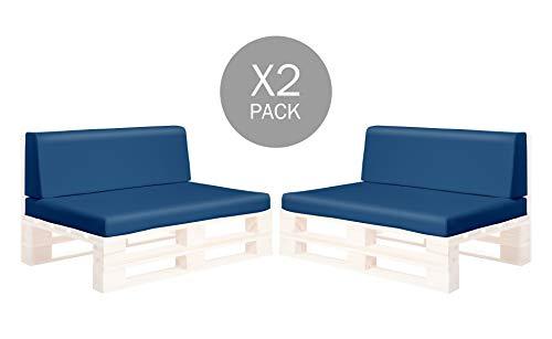 SUENOSZZZ-ESPECIALISTAS DEL DESCANSO Pack 2 Asientos y respaldos para Sofas de palets, Cojines Chill out Rellenos con Espuma y enfundados en Polipiel Color Azul