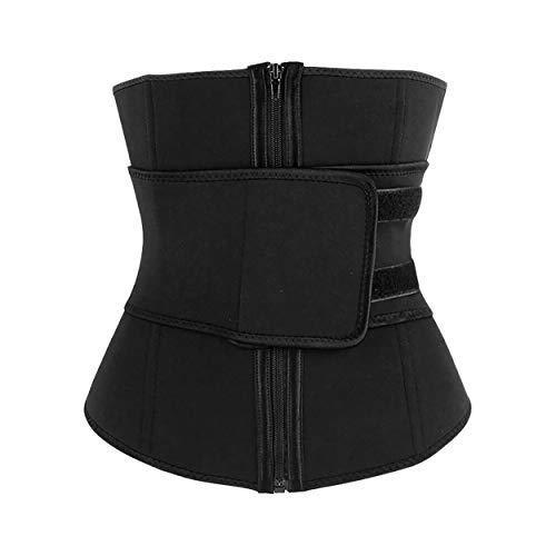 Neoprene Waist Trainer Corset Belt Women Underbust Latex Cincher Shaper Steel Boned Hourglass Body Sports Girdle (Black) (M)