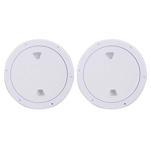 Amarine Made 2 Pack of Boat Round Non Slip Inspection Hatch,Detachable Cover and Pre-drilled Holes in Deck Plate Easily to Install (White, Opening Dia: 7')