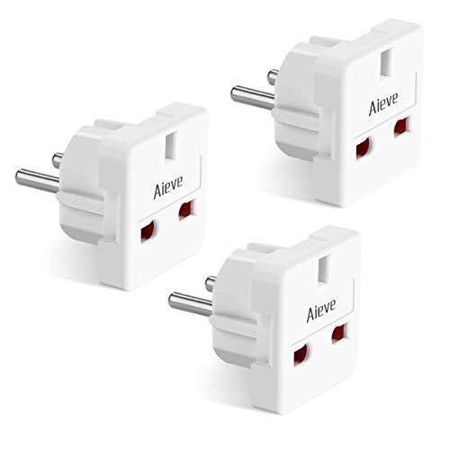 AIEVE 3 Stück UK auf EU Adapter, UK Typ G 3 Pin zum Deutschland/Europa 2 Pin Reisestecker Stecker Adapter Adapterstecker (weiß)
