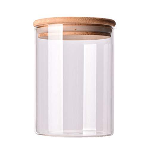 Hemoton Tarro de cristal transparente con tapas herméticas de bambú, recipiente de cocina de 250 ml para té suelto, fruta, fruta, azúcar, sal y especias
