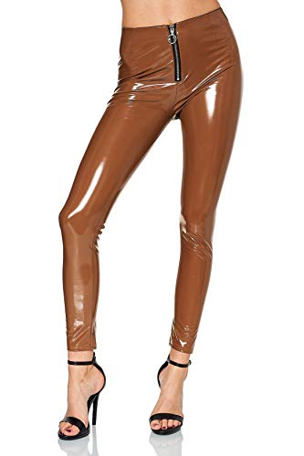 EGOMAXX Damen Vinyl Hose Wet-Look Lederhose Lederoptik Coated Skinny Bikerlook Leggings, Farben:Hellbraun, Größe:S-M