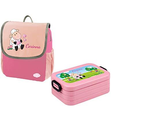 Mein Zwergenland Set 1 Kindergartenrucksack und Brotdose Happy Knirps NEXT mit Name Schaf, 2-teilig, Pink