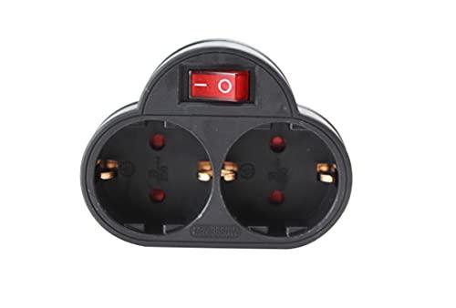 Schuko-Adapter mit 2 Steckdosen und Schalter, Schwarz, 16 A, 250 V, max. 3.680 W