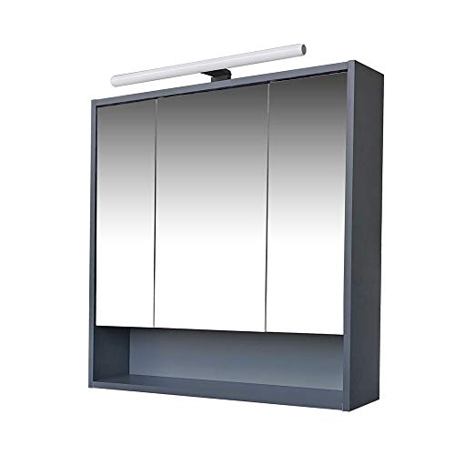 Homedesign MK Spiegelschrank JEVEL Anthrazit Badezimmer Bad Spiegel Badspiegel Wandspiegel