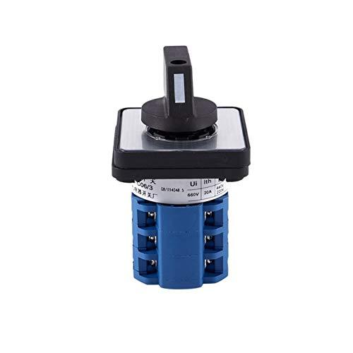 Kfdzsw Giratorio Interruptor Montaje Cuadrado Montaje de 2 Posiciones Cambio Giratorio trifásico de 2 Posiciones CA10 (Color : Blue)