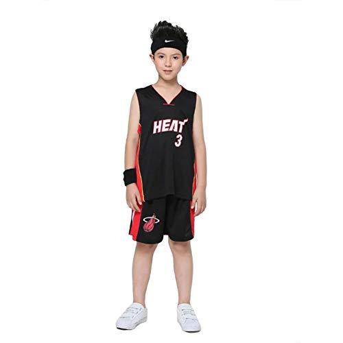 LCHENX-Kids Jersey NBA Miami Heat 3# Wade Mesh Basketball Jersey, Nero, M