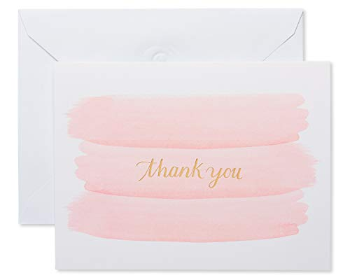 American Greetings Thank You Cards with Envelopes, Pink Brushstrokes (50-Count)