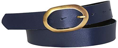 FRONHOFER Damengürtel 3,0 cm schmaler Gürtel goldene Schnalle echt Ledergürtel, 18371, Größe:Körperumfang 80 cm/Gesamtlänge 95 cm, Farbe:Marine