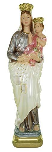 Ferrari & Arrighetti Estatua Virgen del Carmen en Yeso Perlado Pintada a Mano - 40 cm