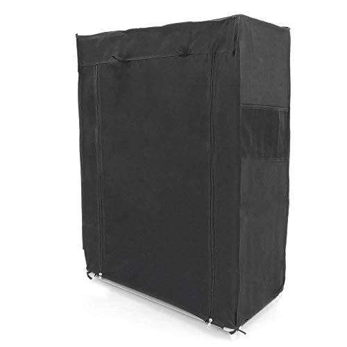 PrimeMatik - Armario ropero y Zapatero de Tela Desmontable 60 x 30 x 93 cm Negro con Puerta Enrollable
