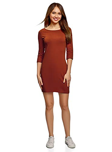 oodji Ultra Damen Baumwoll-Kleid Basic, Orange, DE 36 / EU 38 / S