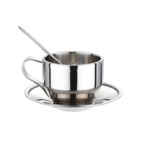 WEHOLY Moka Pot Edelstahl Doppelschicht French Press Kaffeekanne mit 150 ml Becherset Größeres Fassungsvermögen Manueller Café-Hersteller, 150 ml Kaffeetassen-Set