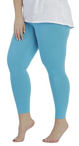 BeLady Damen Leggings Knöchellang aus Baumwolle Blickdichte Leggins Viele Farben (Türkis, L - 40)