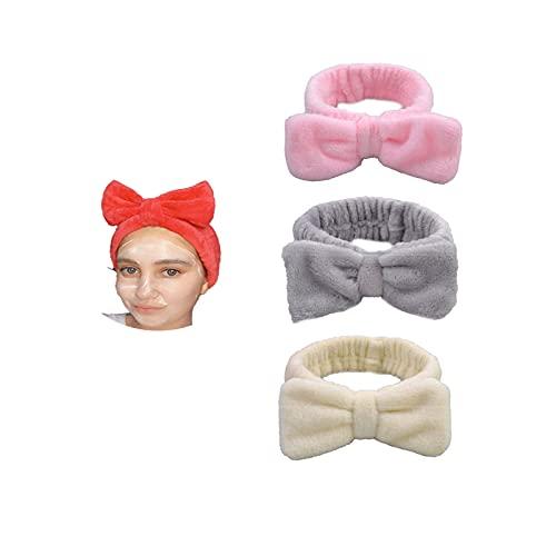Loialpupy Diadema con nudos en forma de arco, para el pelo, maquillaje, lavado facial, yoga, deportes, ducha, spa, máscara facial, rosa, gris, beige (D)